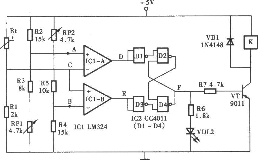 温控电路_双限值的温度控制电路图