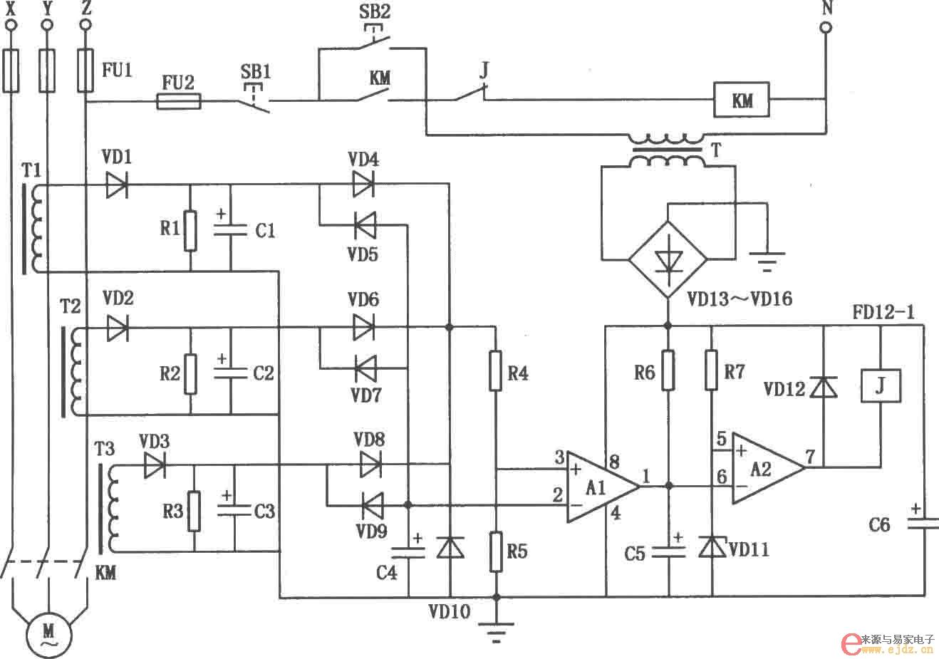 三相电动机断相保护电路图