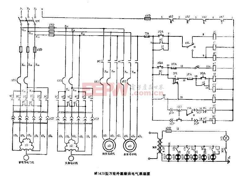 m1420型万能外圆磨床电气原理图