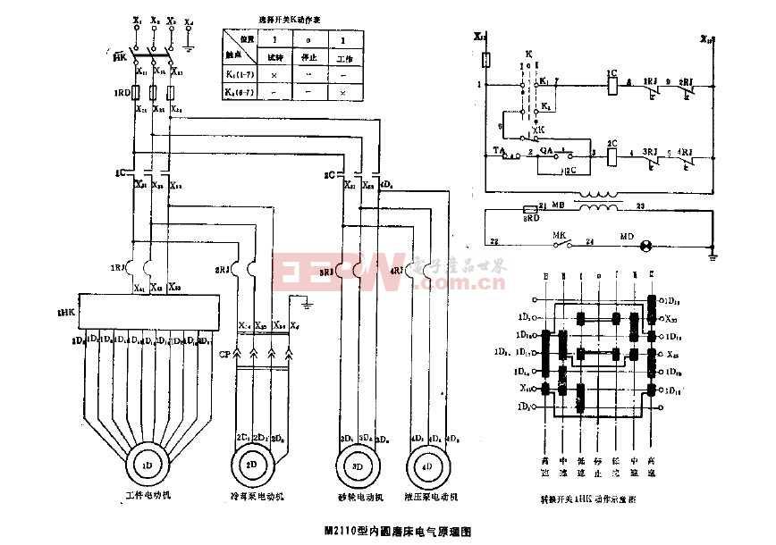 m2110型内圆磨床电气原理图