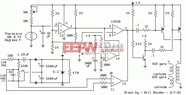 1千瓦加热器温控器电路(可控硅控制)
