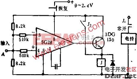 5g28运放构成的触摸报警器电路图