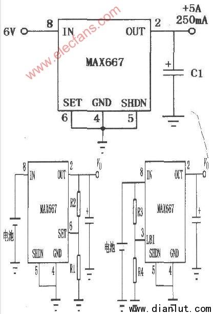 max667线性集成稳压器的应用电路图