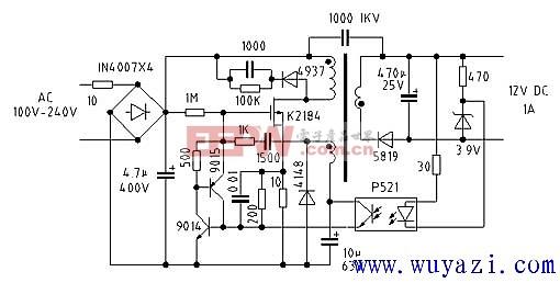 12v1a开关电源电路图图片