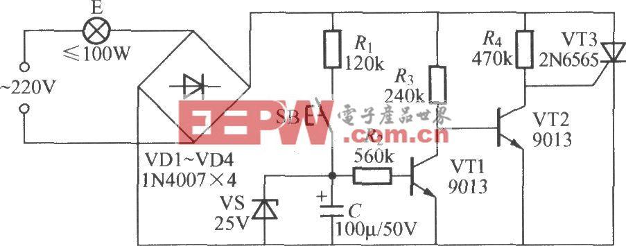实用延迟灯电路(2)本电路图所用到的元器件:22n6565 9013
