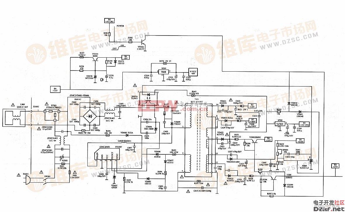 海尔tmpa8873机芯彩色电视机开关电源电路图