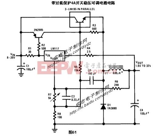 低成本3A开关稳压可调电源电路图,如图71LM317构成的交流稳压电图片