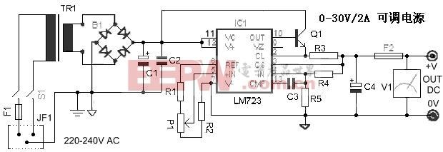 lm723组成的可调稳压电源电路