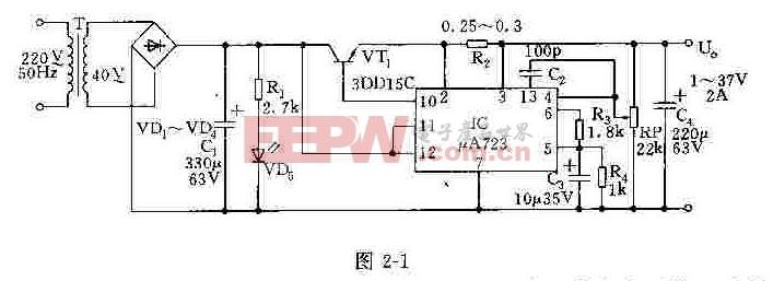 1~37v连续可调稳压电源电原理图