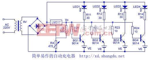 简单易作的自动充电器电路及其解析图片