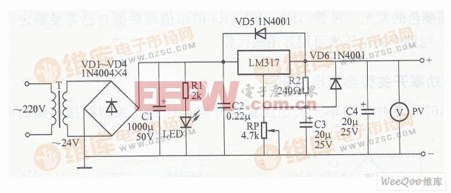 简易可调稳压电源电路图 一图片