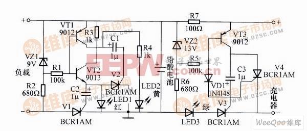 铅酸电池充电及保护器电路图
