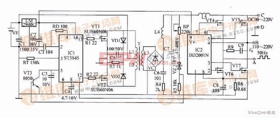高低频斩波式新型高效逆变器电路  电路工作原理:由图可知,升压驱动