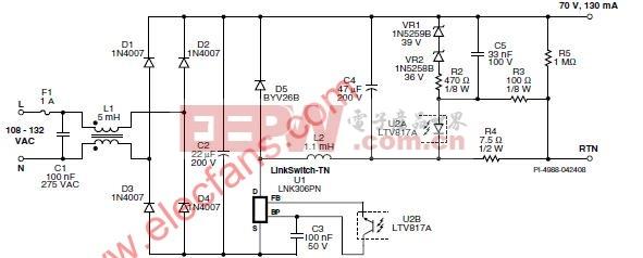 恒流降压式转换器led驱动器电路