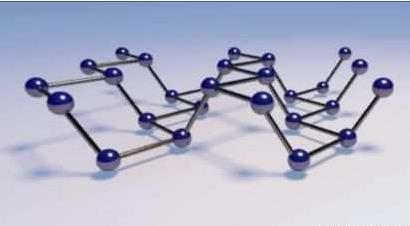"""图中的黑磷模型说明其原子单层的""""可折叠蜂巢式""""内部结构(来源:mcgill"""