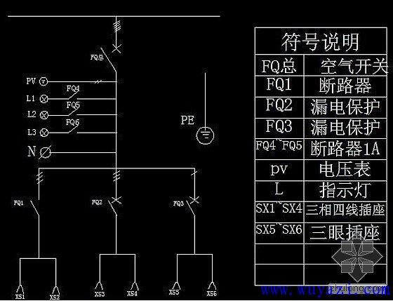 配电柜简单的电路图图片
