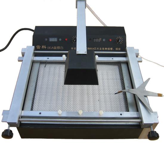 雷科BGA返修工作台简介 型号:雷科2008 本返修台采用波长1.50~6.0m的红外线加热,与热风加热相比,加热过程更加平稳,避免周边小元器件移位 本返修台适用于焊接、拆除或返修BGA、PBGA、CSP等封装形式的器件 本返修台适用于笔记本电脑主板、台式电脑主板、服务器主板、交换机主板、各种游戏机主板、通信设备主板、显卡.