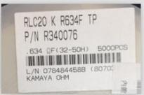供应RLC20KR634FTP0805  1% 0.634R