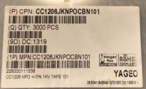供应CC1206JKNPOCBN101CC1206JKNPOCBN101