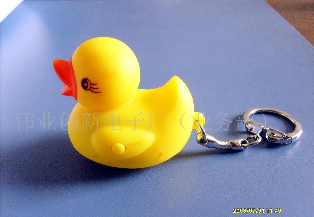 供会叫的动物钥匙灯发光发声小动物鸭子钥匙扣(图)