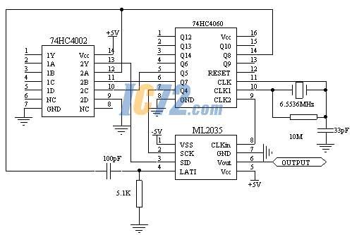 基于ml2035的1000hz正弦信号发生器电路原理图