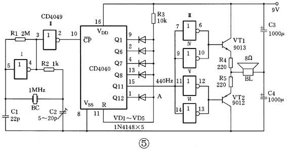 二进制计数器-cd4040-电路图