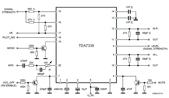 采用TDA7388调频立体声解码器