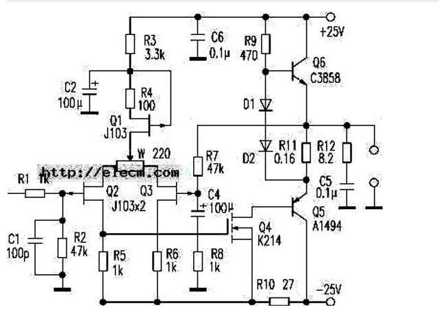 30W甲类功率放大器电路图