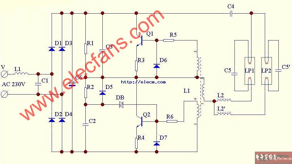 双管节能灯电子镇流器电路图