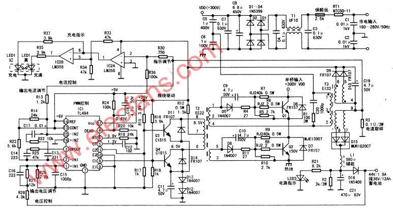 tl494开关电源型智能充电器电路