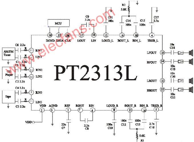 pt2313设计的低音炮电路图图片
