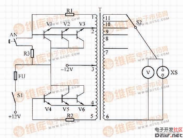 此逆变电源能将蓄电池的12V转换成220V交流电源,供家用电器使用。电路如图所示。  简单实用是逆变电源电路 电路工作原理:由图可知,三极管V1~V6,电阻R1、R2和变压器T组成共集电极接法的自激振荡电路。接通12V直流电源后,电路起振,产生频率约50Hz的方波电流,由变压器T将电压升高到220V。R1、R2为发射极限流电阻,R3和按钮AN组成起振电路,当负载为感性或负载较重时,按下AN,可帮助电路起振。由变压器的抽头,可获得5种不同的电压输出,电压的高低由交流电压表指示,插座XS供外接电器。 元器件选
