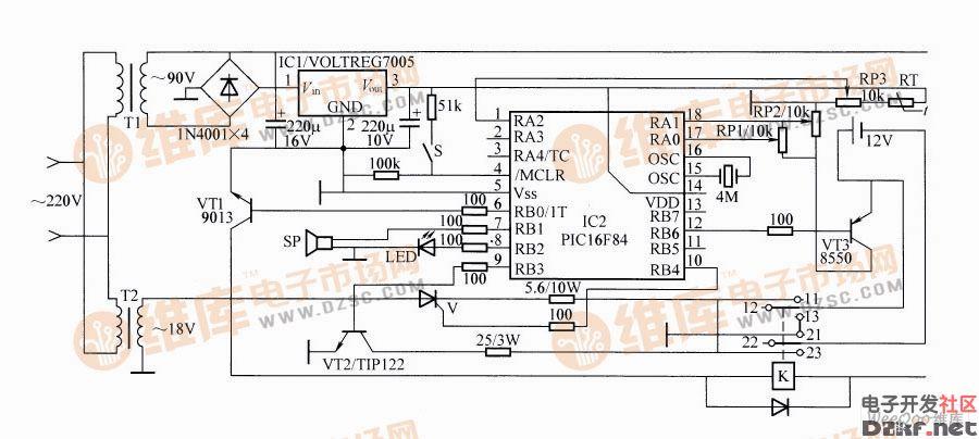 脉冲电压12v对讲机电池充电器电路图