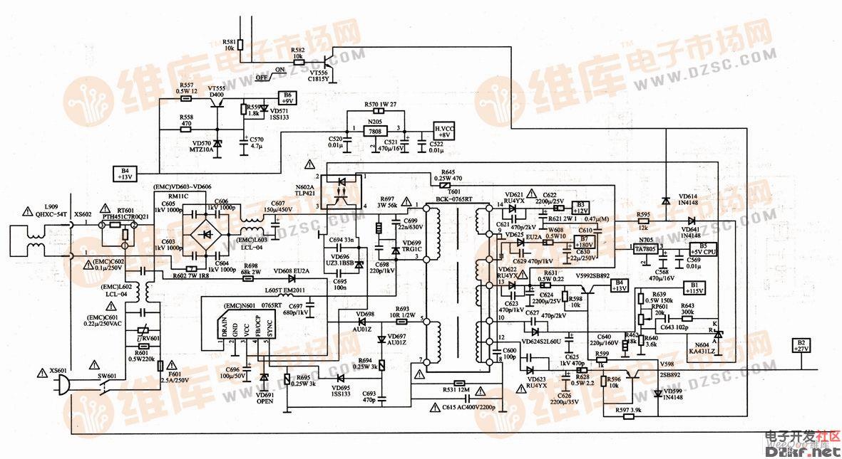 海尔21fv6h-b彩色电视机开关电源电路图
