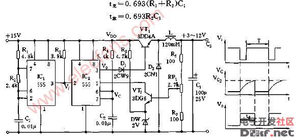 开关式3-12v可调稳压源电路图