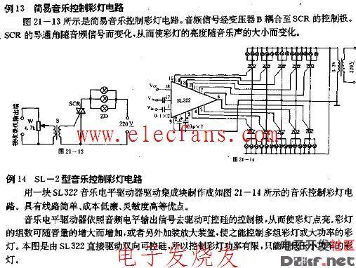 简易音乐控制彩灯电路图音频信号经变压器b耦合至可控硅