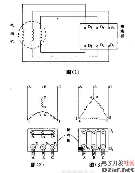 三相异步电机接线图:三相电动机的三相定子绕组每相绕组都有两个