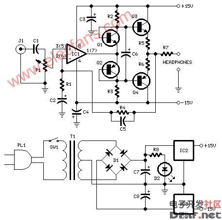 耳机放大器电路(headphoneamplifier)