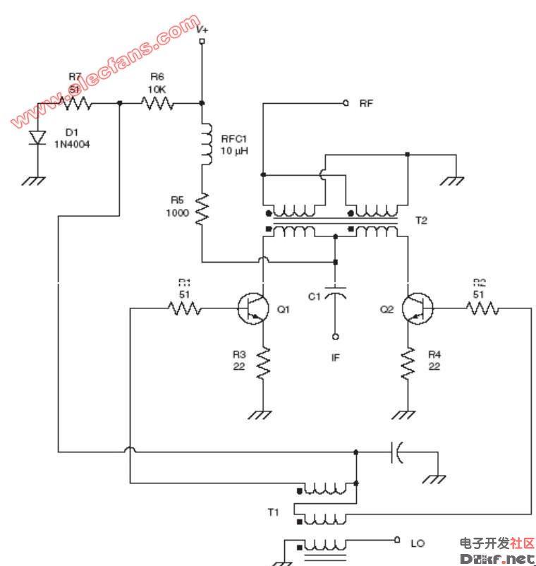 三极管混频电路图: 两个npn三极管.