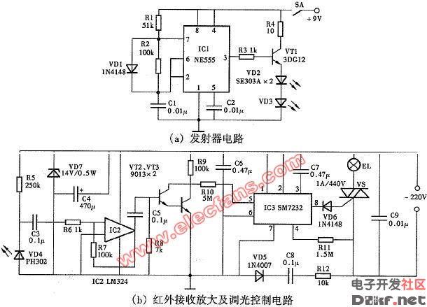 技术资料 电路图 控制电路 红外遥控调光灯电路图  来源: a href='