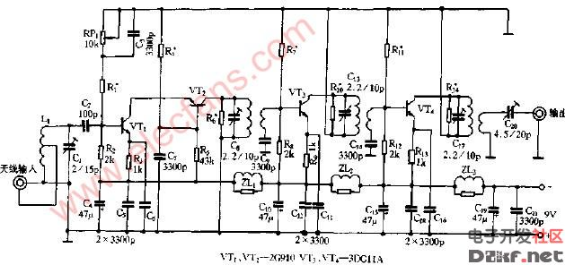 电视天线放大器电路原理图