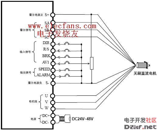 无刷直流电机典型接线图