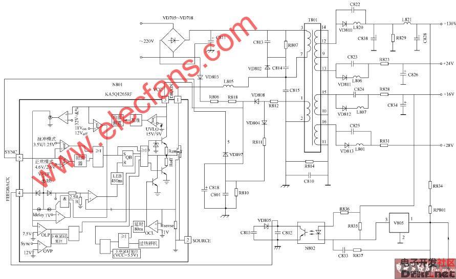 海信tf29118彩电开关电源电路