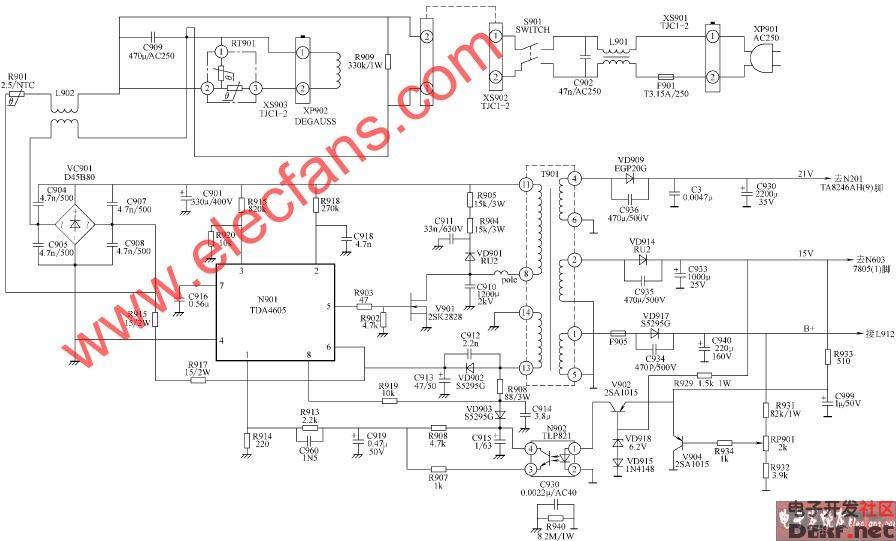 t2563e,t2566e1,t2566e5,t2566e6,t2569e,p2556e彩电开关电源电路