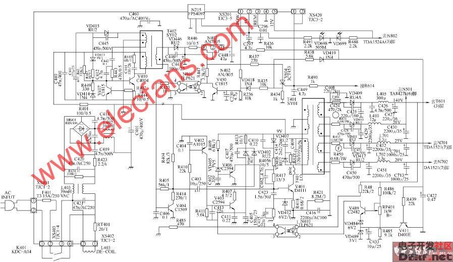 康佳T2588B T3877B彩电开关电源电路图片