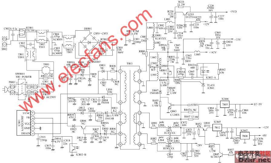 王牌tcl-hd34803i彩电开关电源电路