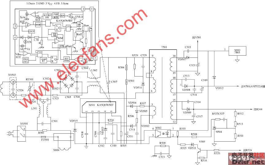 厦华ts2980,ts2981彩电开关电源电路