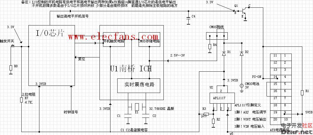 主板开机电路的工作原理图