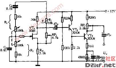 可调频率的文氏电桥振荡电路图