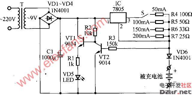 7805恒流充电电路-电路图